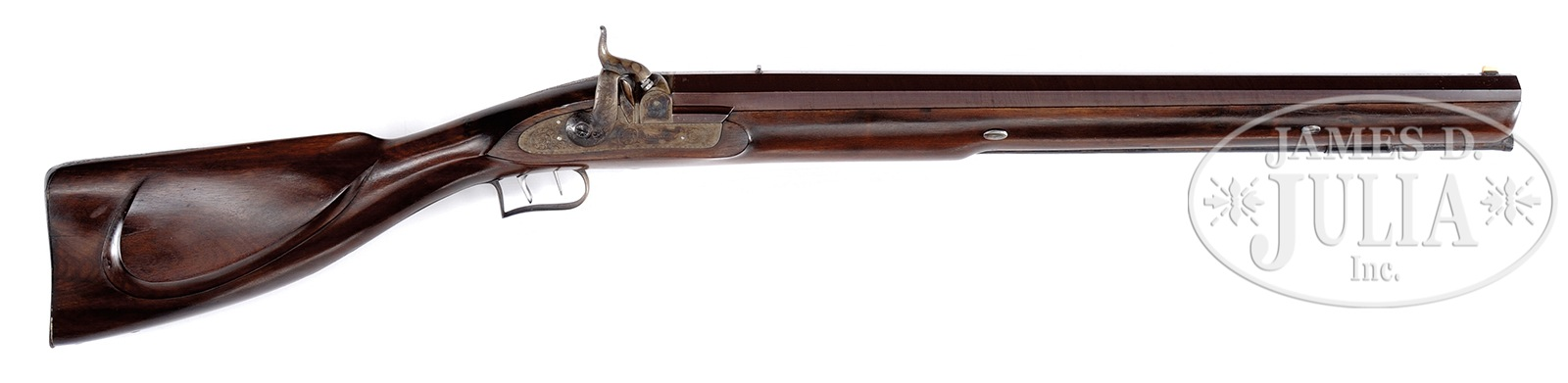 E.M. Reilly Four Bore Belted Ball Percussion Rifle. (Picture courtesy James D. Julia Inc.).