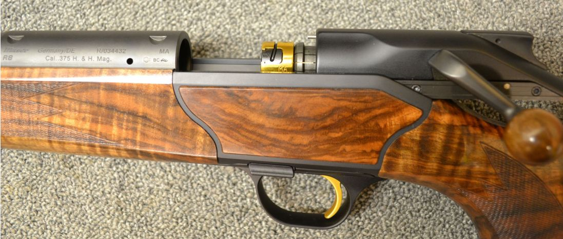 With the bolt open the unusual Blaser bolt mechanism becomes visible. (Picture courtesy Cabela's).