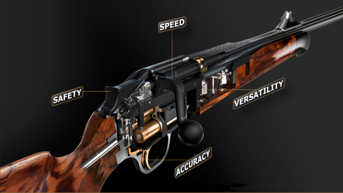 The Blaser R8 is a straight pull bolt action with the magazine and trigger assembly as one removable unit. The rifle also has an interchangeable barrel feature. (Picture courtesy Blaser).