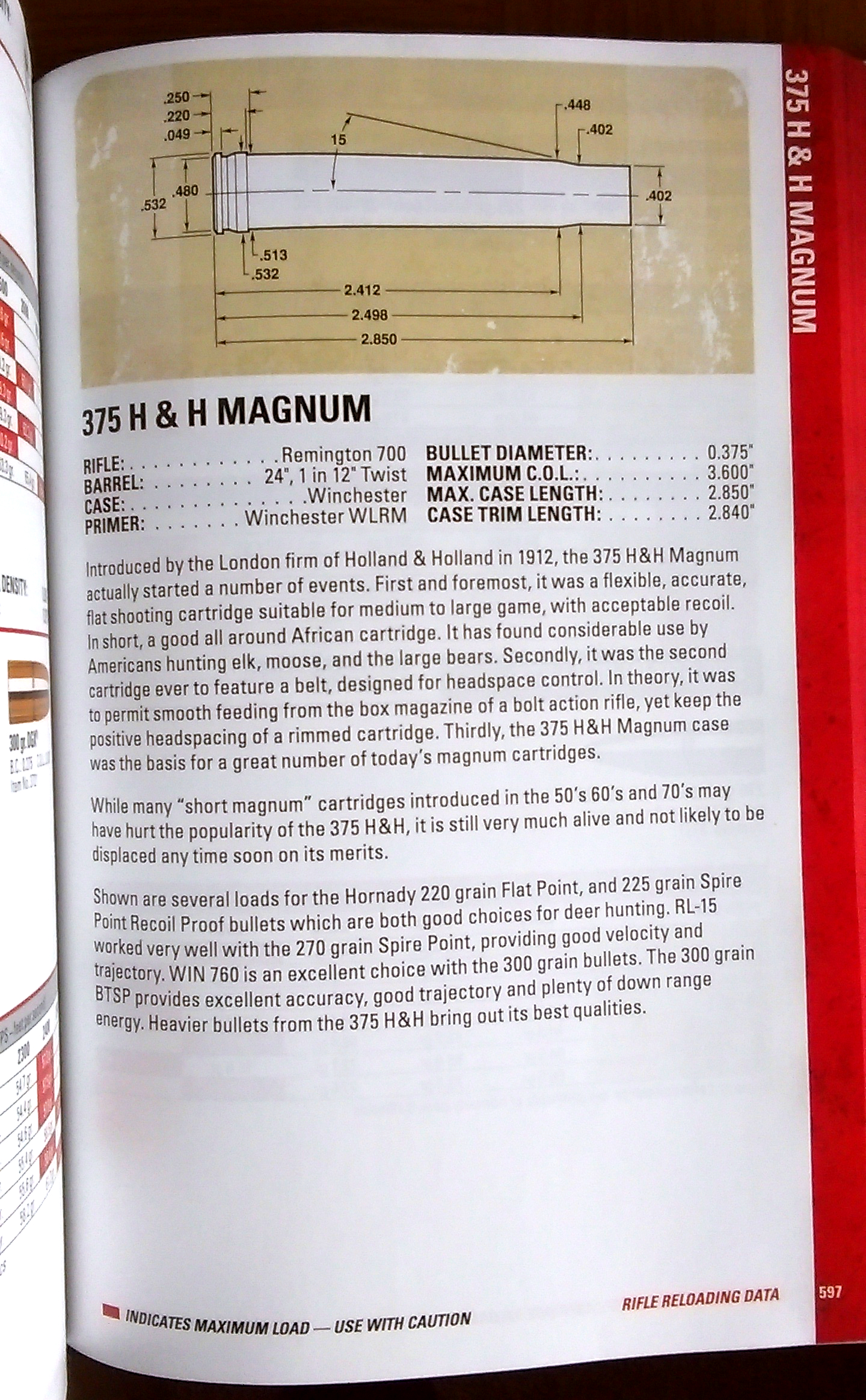 In the Hornady 9th Edition handbook each cartridge has historical and dimensional information provided. (Courtesy Hornady).