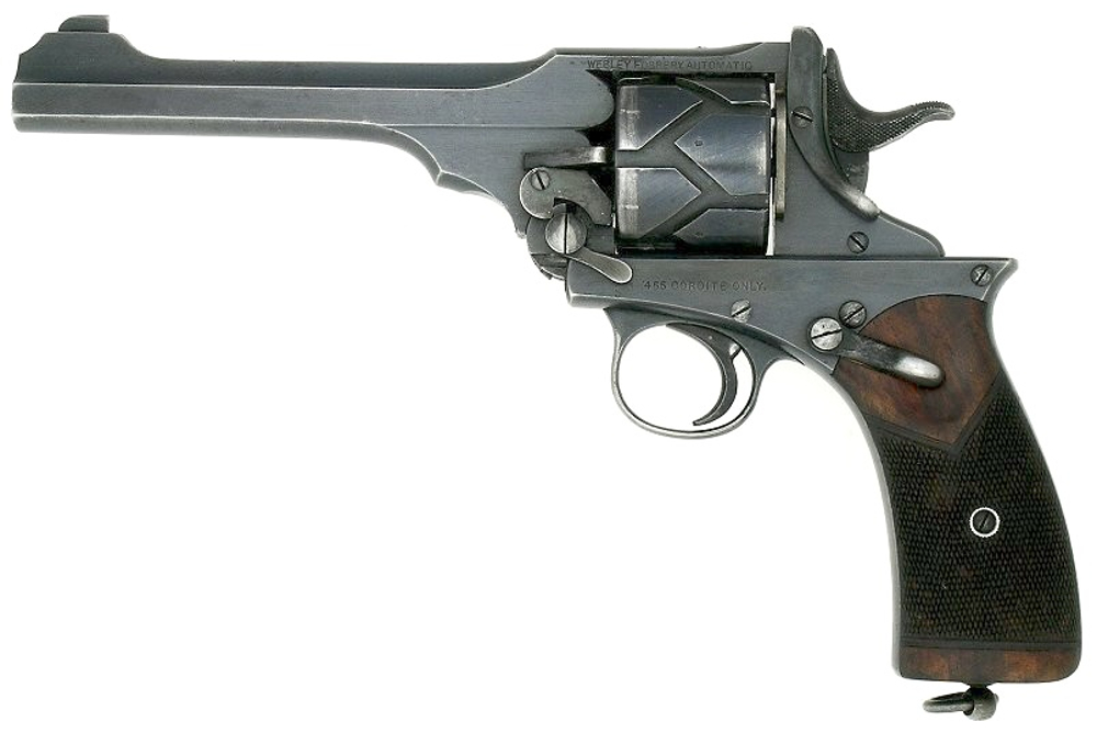 The Webley-Fosberry automatic revolver in .38 Automatic is one of the unusual firearms you can get shooting if armed with the Hornady 9th Edition handbook. (Picture courtesy Wikipedia).