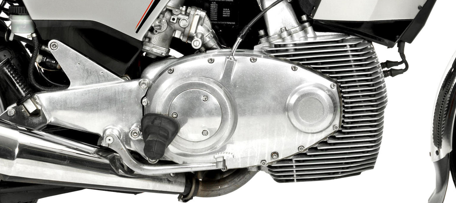 The Wankel engine forms part of the bike's frame. The engine blends with the bike.