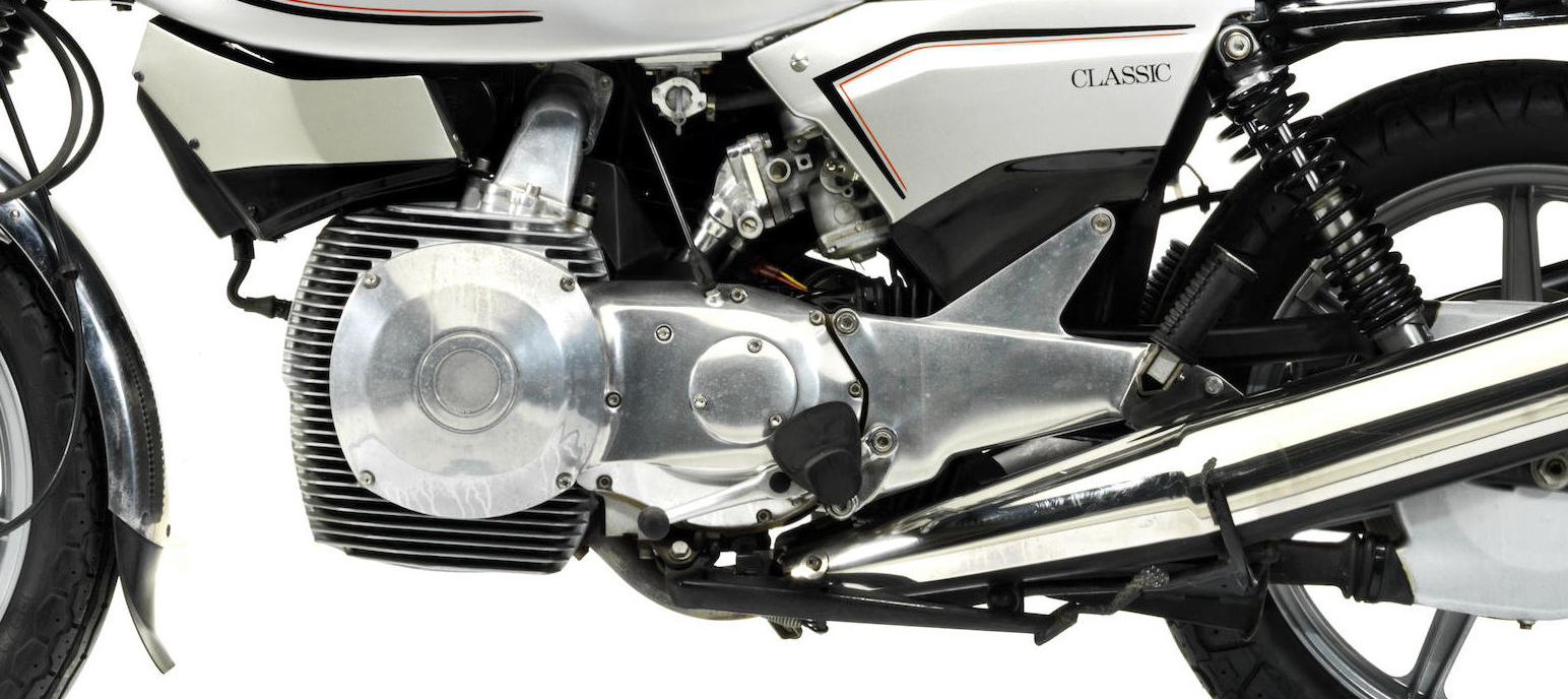 The twin Wankel rotors are set in a carefully designed arrangement of cooling fins.
