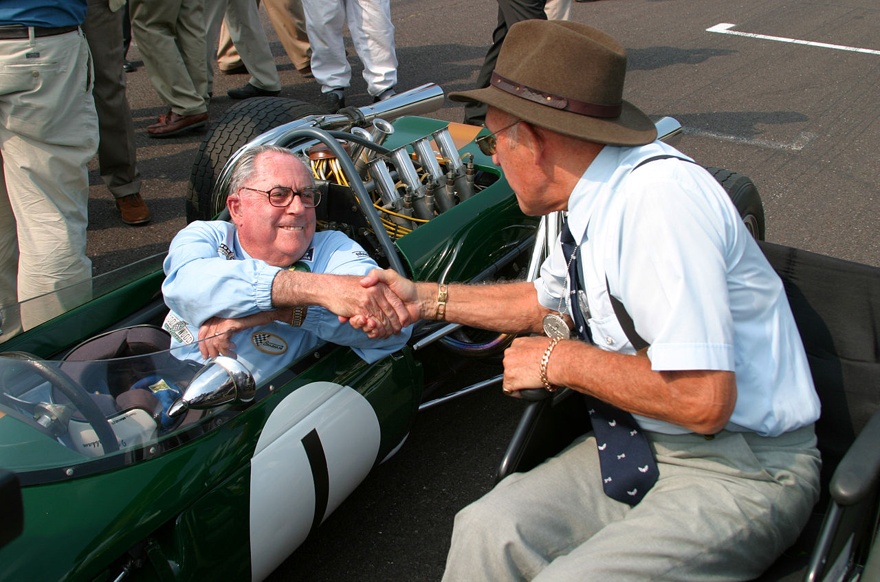 Jack Brabham and Stirling Moss at the Goodwood Revival in 2004. (Picture courtesy Wikipedia).