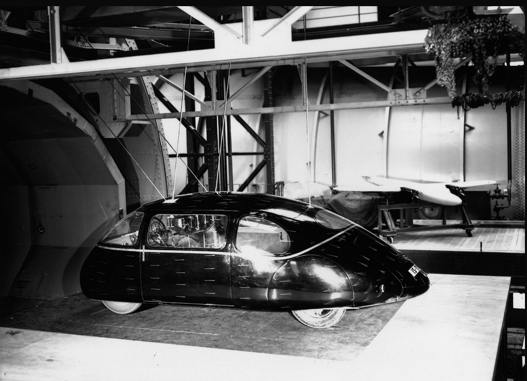 The full size prototype Schlörwagen ready for testing in the wind tunnel.