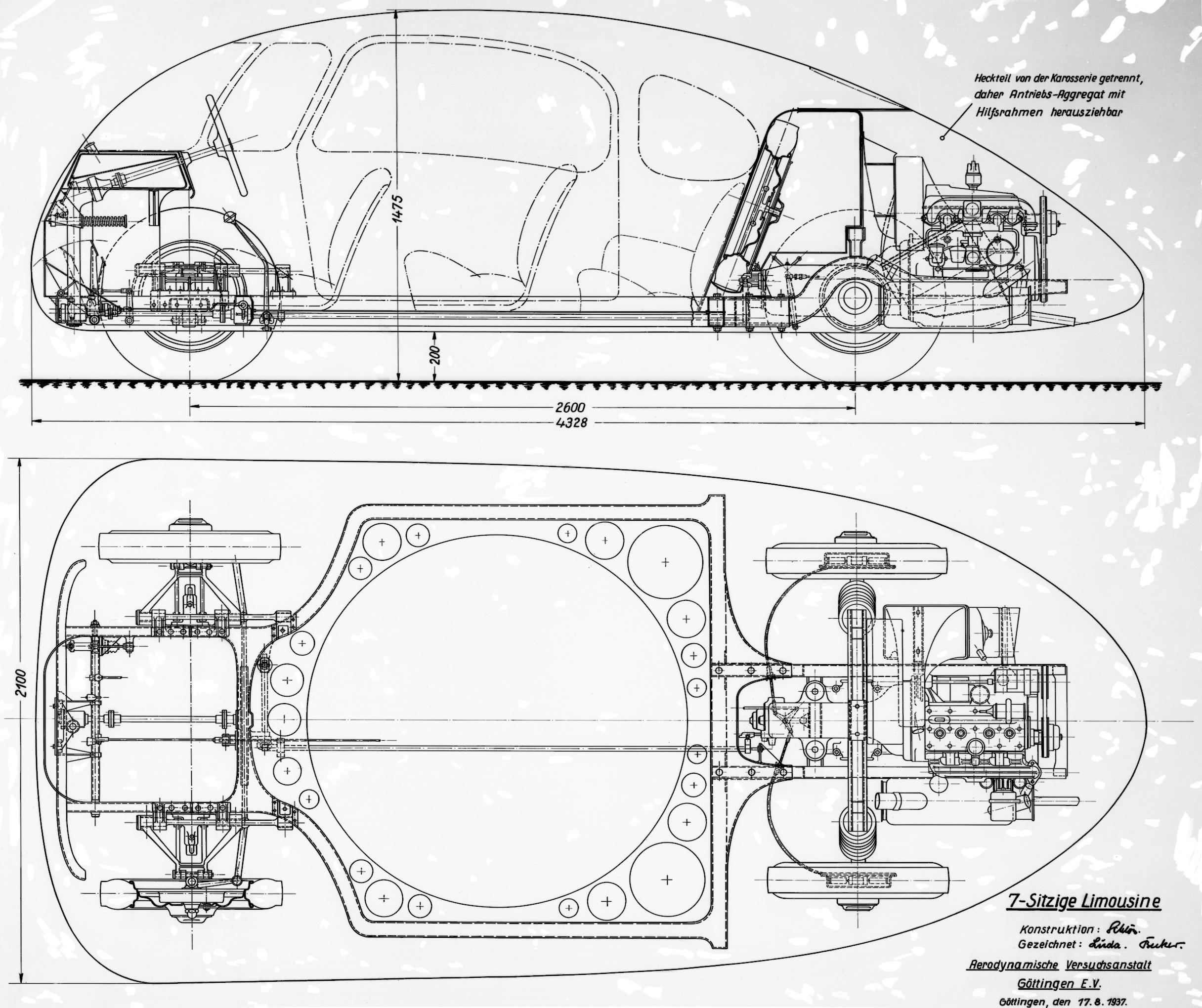 The layout of the Schlörwagen reflects the prevalent German developmental thinking of the thirties, backbone or platform frame chassis, rear mounted engine.