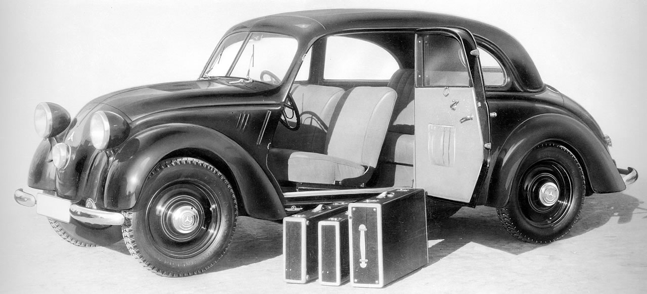 The production Mercedes-Benz 170H was an attempt to create a fairly aerodynamic car for autobahn cruising. This picture gives an idea of the luggage capacity.