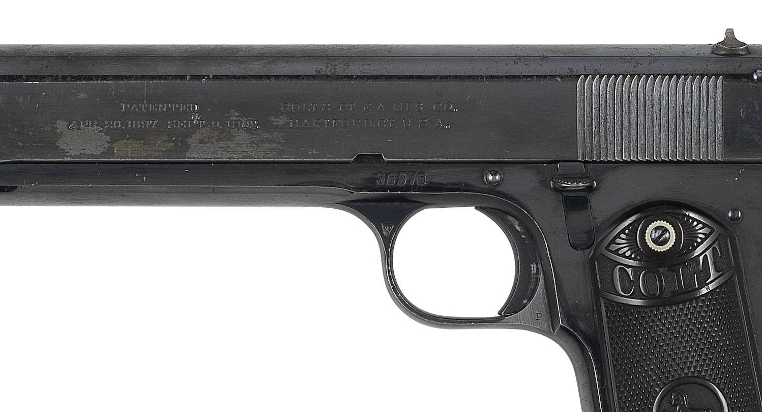 In this close up of the pistol for sale we can get an idea of the present condition of this piece. This pistol was sold in Britain and has British proof marks. Estimated sale year is 1914.