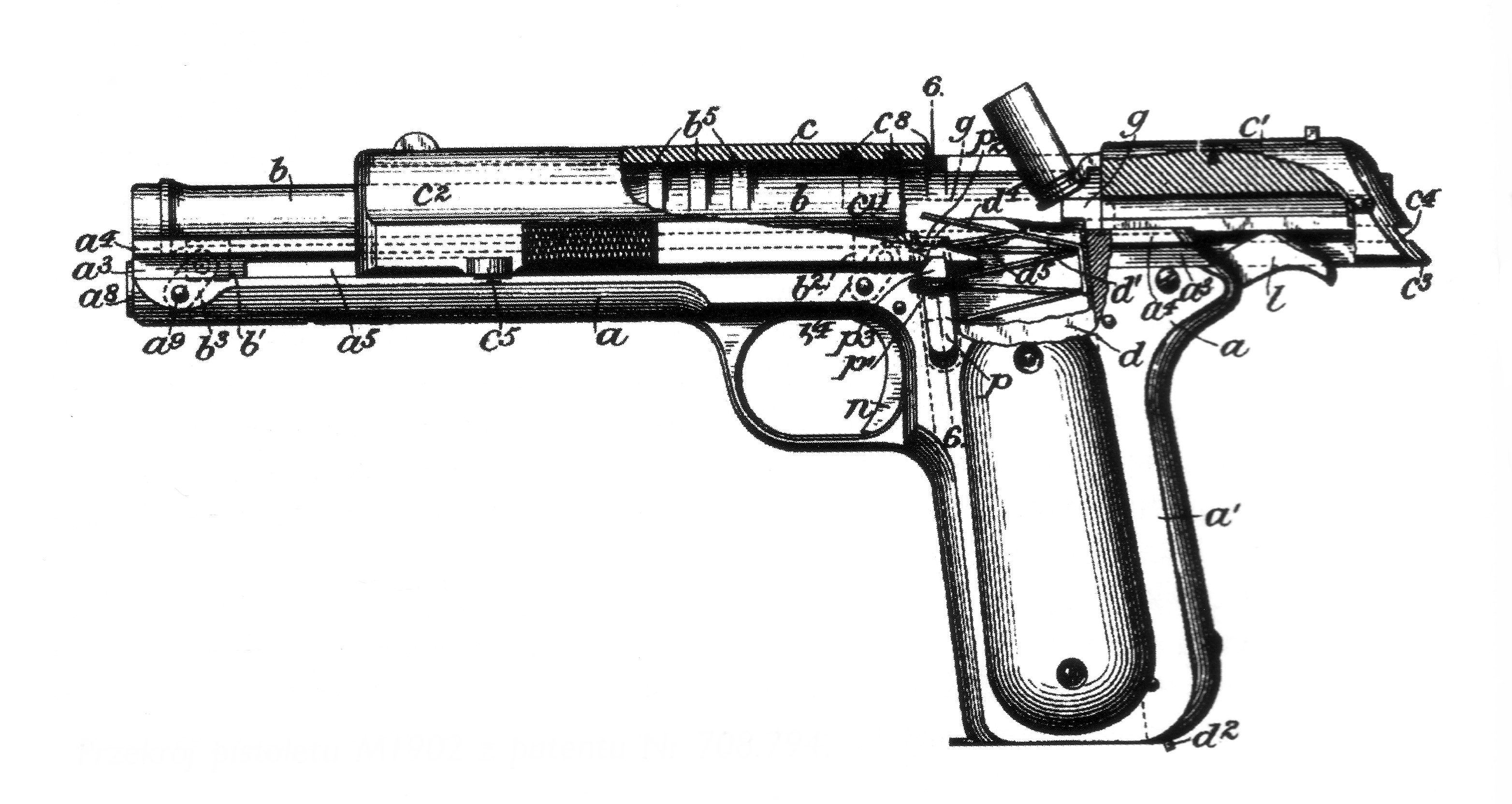 Original patent drawing of Browning's M1902 automatic pistol. (Picture courtesy Wikipedia).