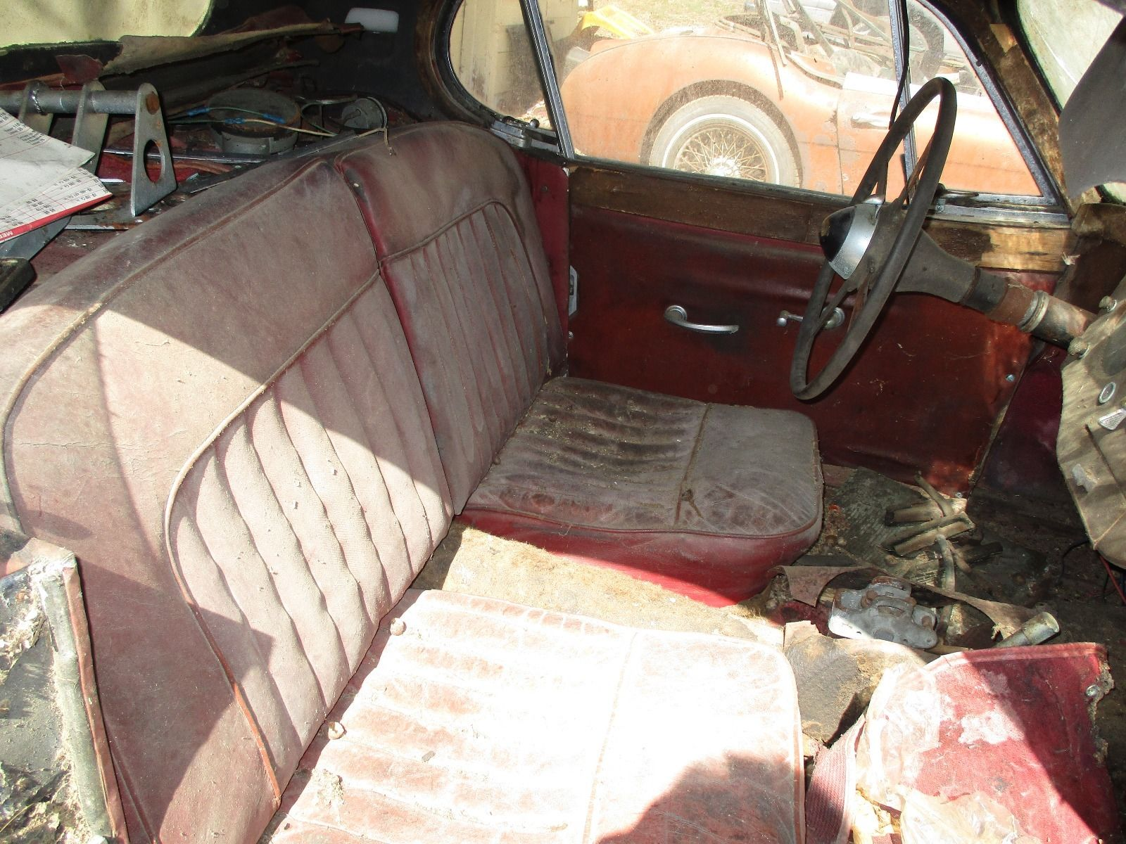 The interior is fairly intact, but in rough shape.