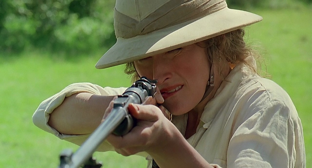 "A closer look at the rifle used by Meryl Streep in ""Out of Africa"". Mauser flag safety, Mauser receiver bridge with thumb cut out and stripper clip guide, Mauser flag safety, Westley Richards multi-leaf rear sight. (Picture courtesy imfdb.org)."