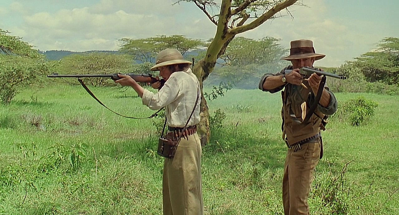 "The scene in ""Out of Africa"" where Karen and Denys are confronted by lionesses. (Picture courtesy imfdb.org)."