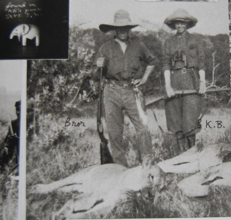Karen Blixen (right) with husband Bror (left) and lions. Karen's rifle is a Mannlicher-Schönauer full stock carbine. (Picture courtesy forums.nitroexpress.com).