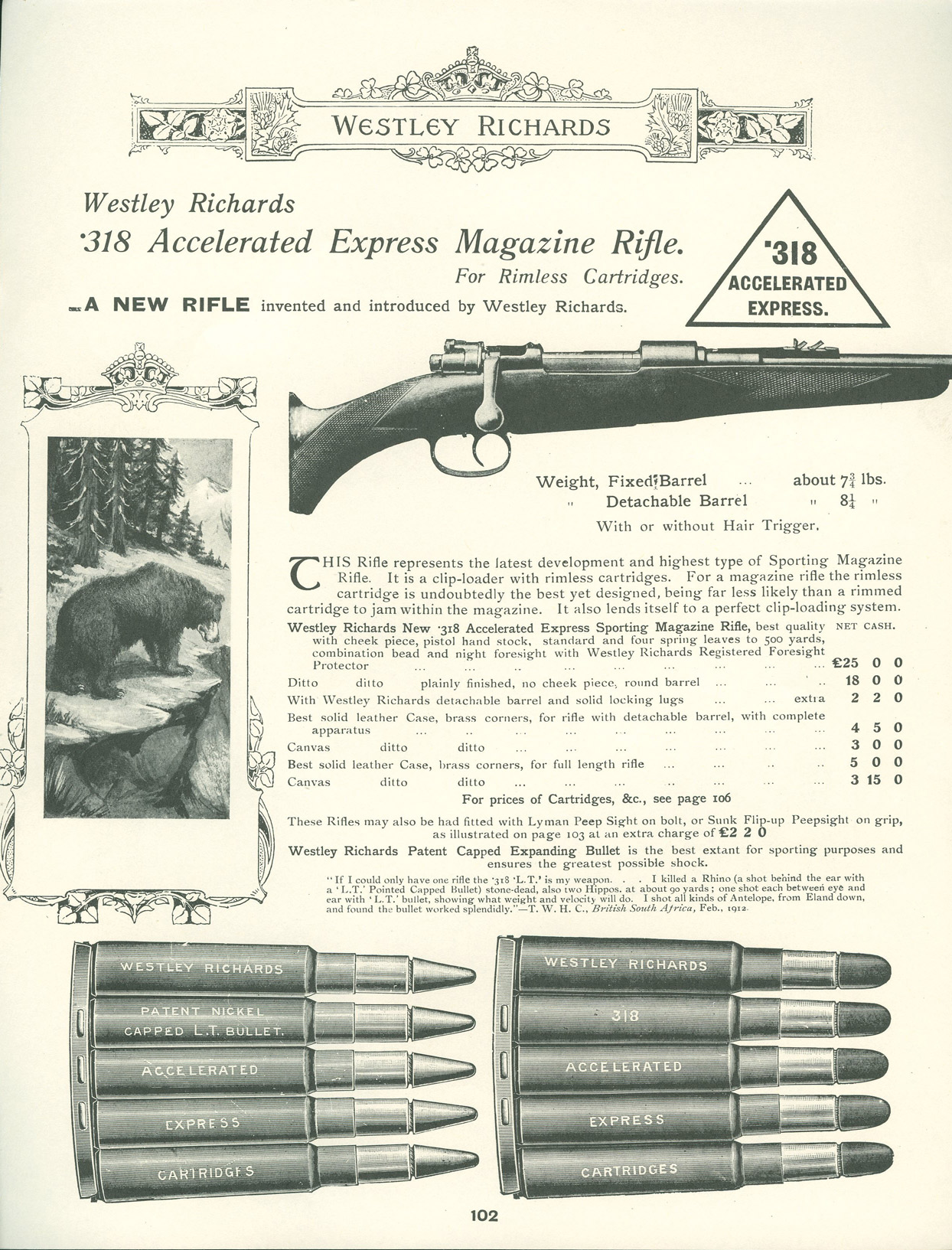 "As the case head size is the same as the 30/06 the .318 Westley Richards ""Accelerated Express"" can use stripper clips (30/06, 8x57JS etc. (Picture courtesy theexplora.com)."