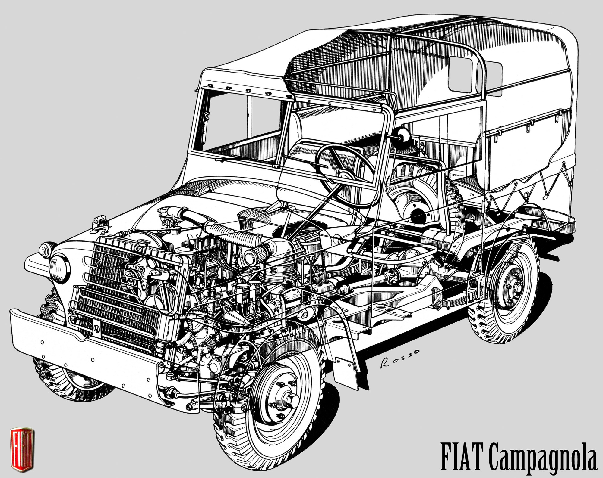 Pretty much a cross between the US Jeep with some British Land Rover thrown in the Fiat 1101A Campagnola is one sweet little four wheel drive. (Picture by Franco Rosso courtesy sobchak.files).