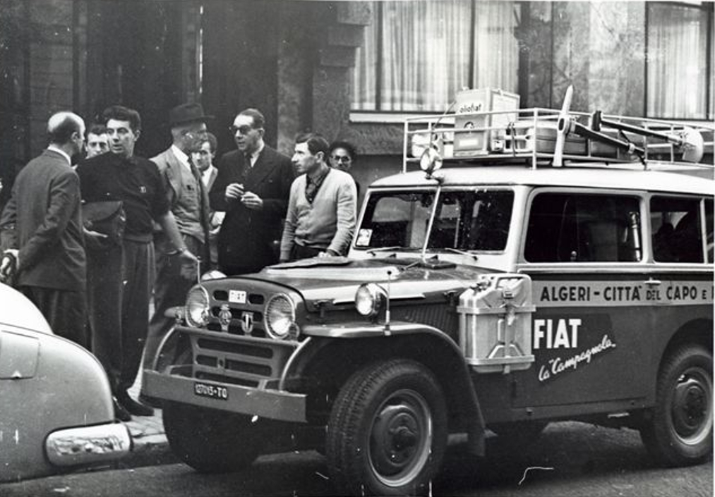 At the beginning of their epic Algiers to Cape Town journey with the little Fiat 1101A looking much cleaner than it would look by the time it reached Cape Town.