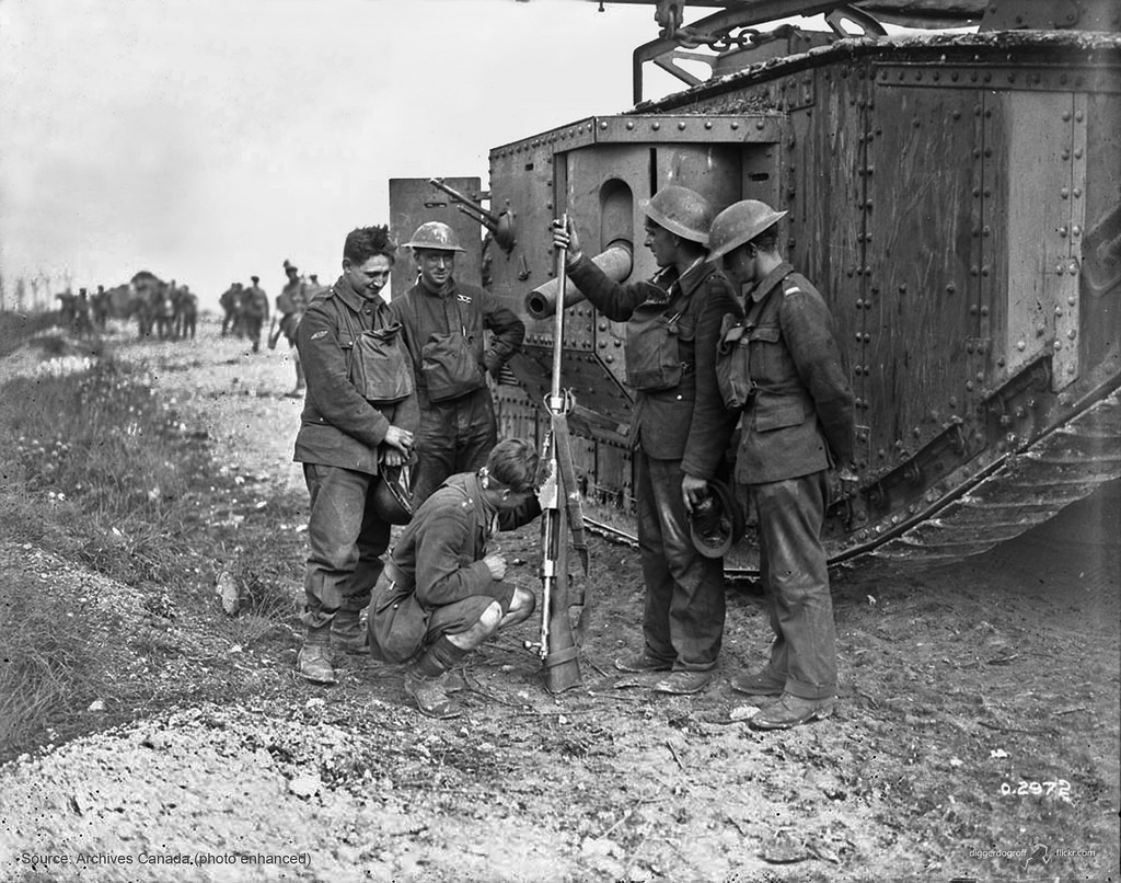 A British tank crew examining a captured T-Gewehr. (Picture courtesy Wikipedia).