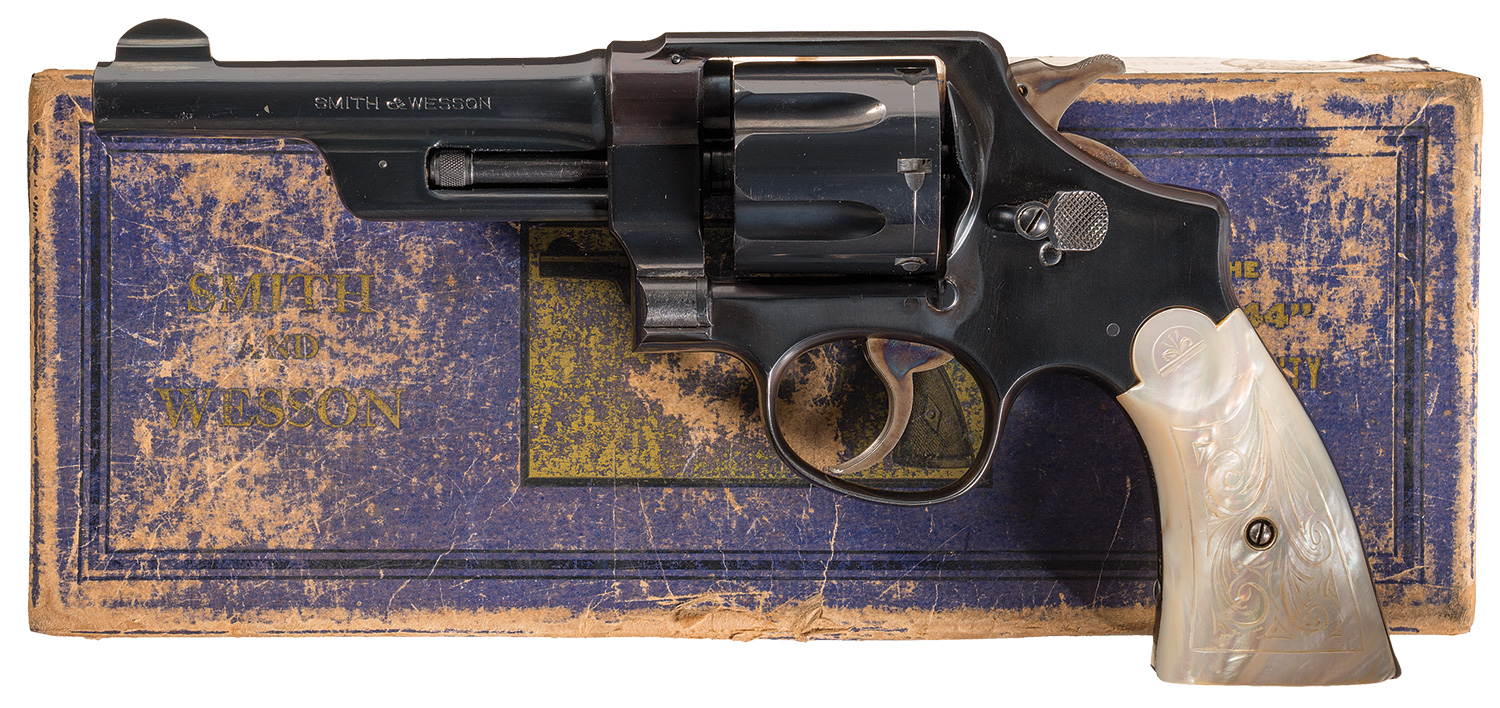 Built on the larger and heavier N Frame the 38/44 was created in demand by police forces for a revolver that could penetrate car bodies. (Picture courtesy Rock Island Auction).