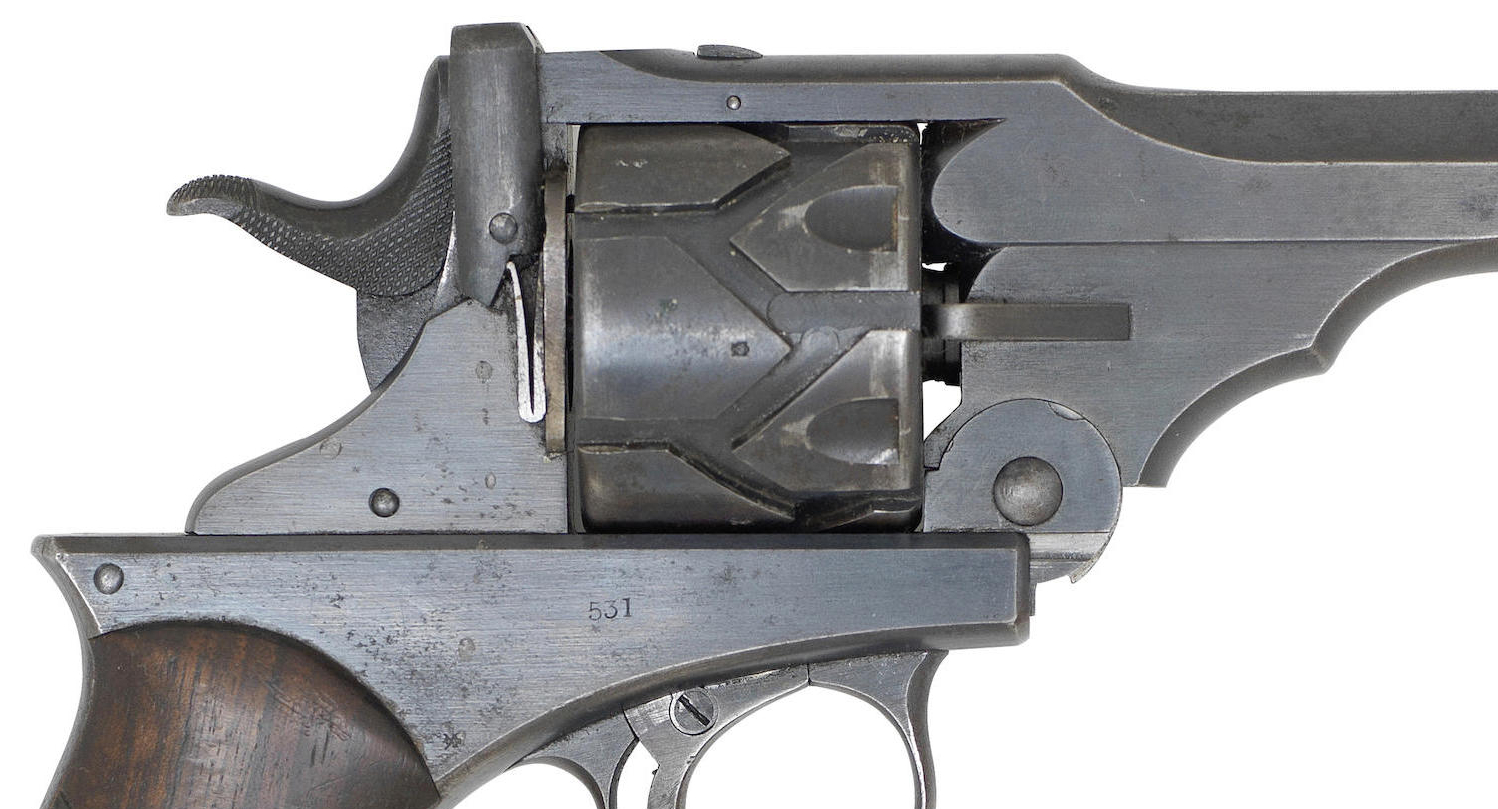 The serrations on the hammer are for pulling the action to the rear as on a conventional automatic pistol. (Picture courtesy Bonhams).