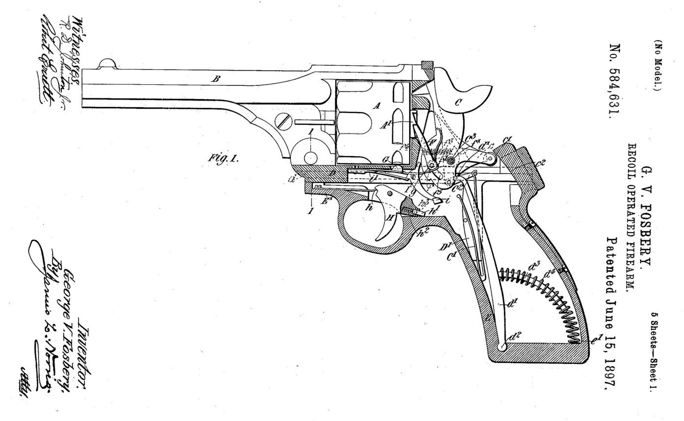 Fosbery's patent drawing showing the revolver action before being cocked and fired. (Picture courtesy milpas.cc).