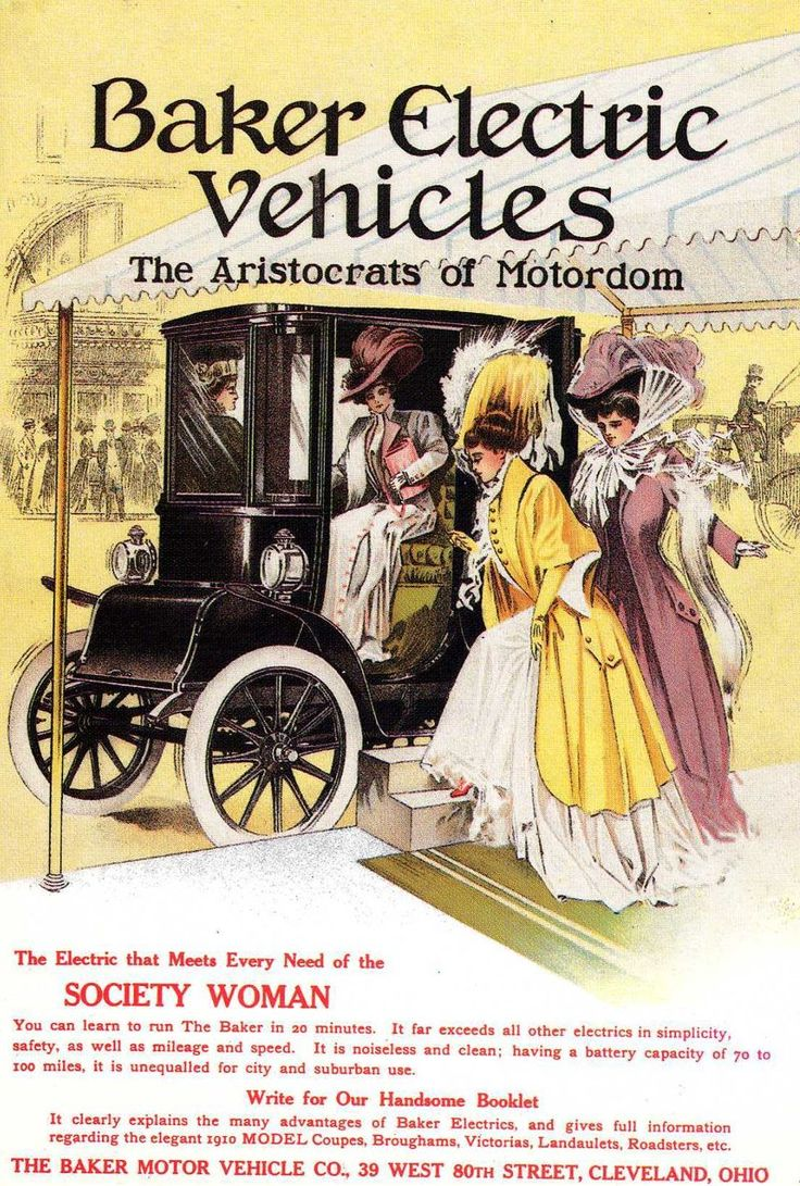 Advertisement for Baker Electric Vehicles. If you were looking for quiet, clean and easy to drive transportation then the electric vehicle provided what you were looking for.