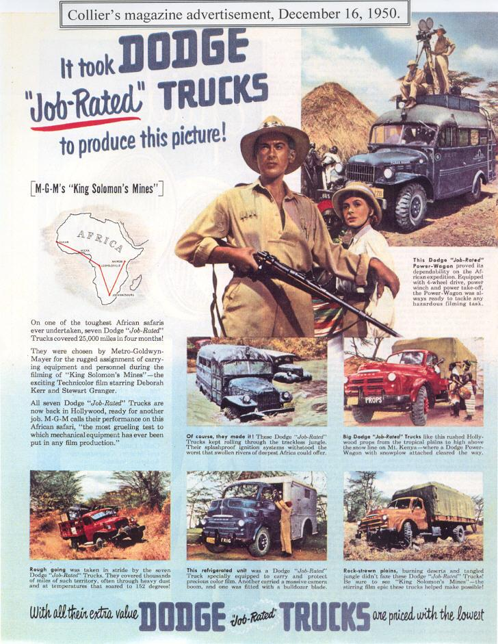 "Dodge Powerwagon advertisement based on its role in the movie ""King Solomon's Mines"". (Picture courtesy dodgepowerwagon.com)."