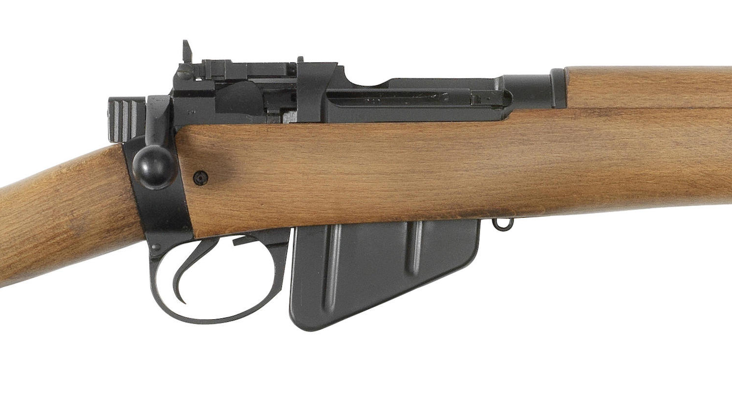 Action close up of the No. 4 rifle with its aperture rear sight.