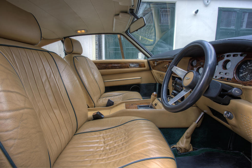 The interior of the Aston Martin V8 is luxurious and continues to look so even with the patina of years of use.