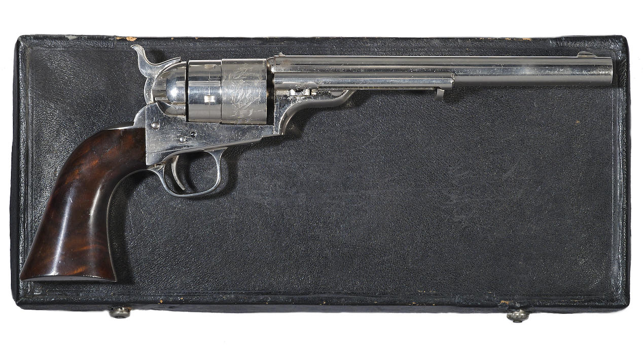 The early model Colt that adopted metallic cartridges was kept as close in design to the cap and ball model as possible. (Picture courtesy Bonhams).