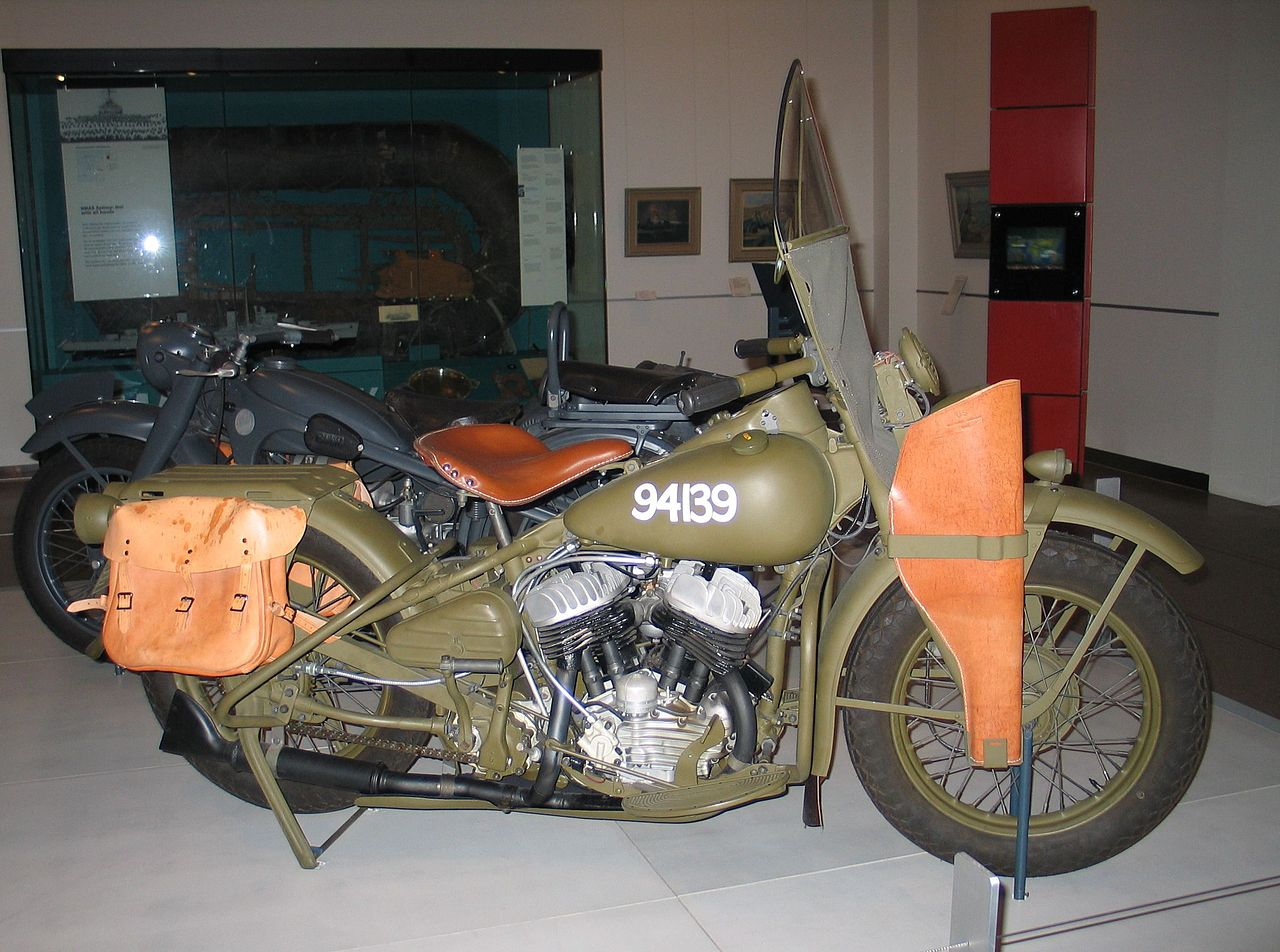 Harley Davidson WLA military motorcycle as used by Australian troops during World War II on display at the National War Memorial, Canberra, Australia. (Picture courtesy Wikipedia).