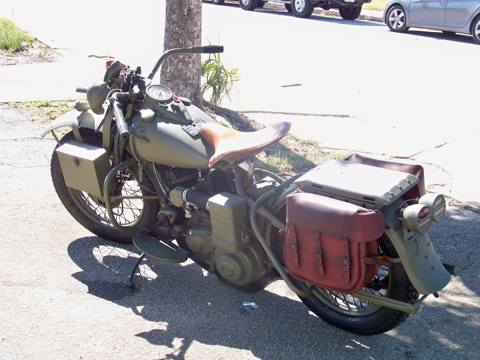 Normal equipment for the Harley Davidson WLA includes saddle bags and a substantial rear carrier for radio equipment, front boxes, and scabbard for a Thompson M1A1 .45ACP sub-machine gun for rider self protection.