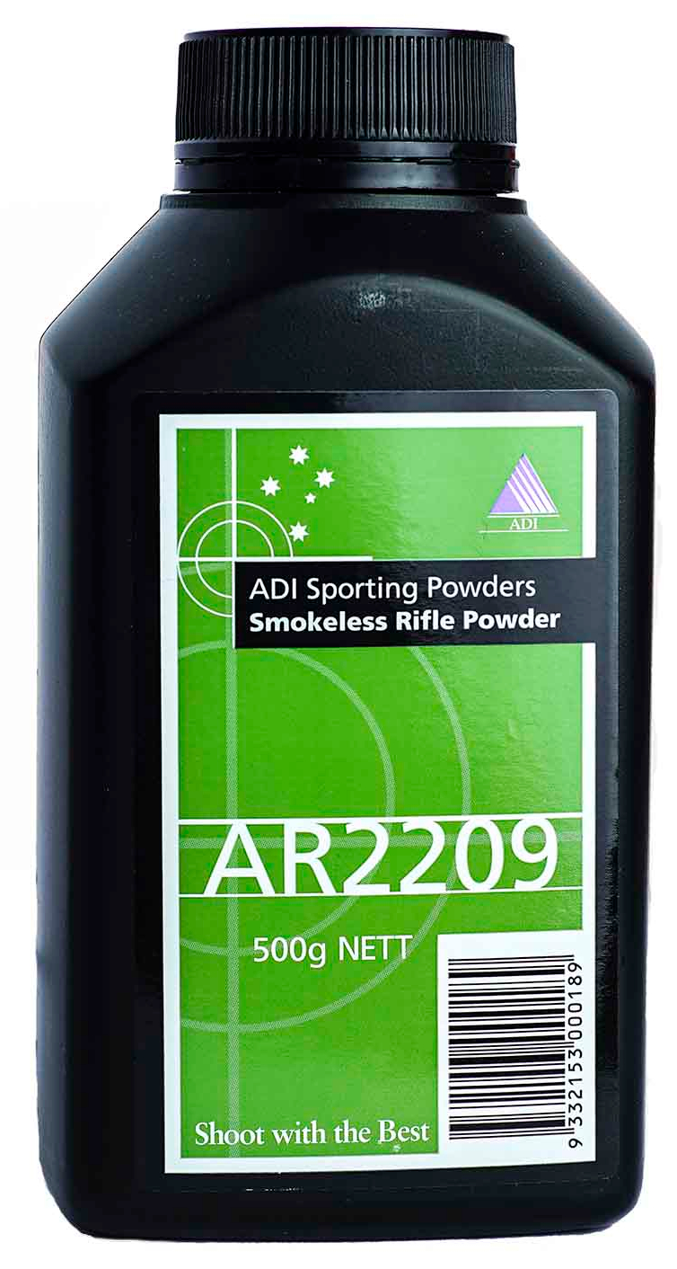 The powder packaged by Hodgdon as H4350 is made and sold in Australia and New Zealand under the ADI brand as AR2209. Same powder, different bottle. (Picture courtesy empolotezsignaturefirearms.com.au).