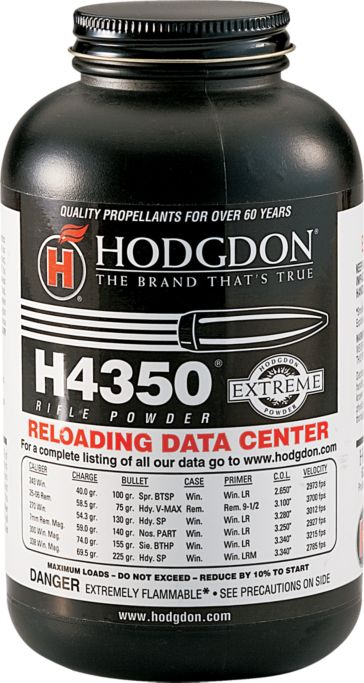 Hodgdon H4350 was one of the powders that Bruce Hodgdon began his business on back in 1946, H4350 began distribution in 1949. (Picture courtesy Cabelas).