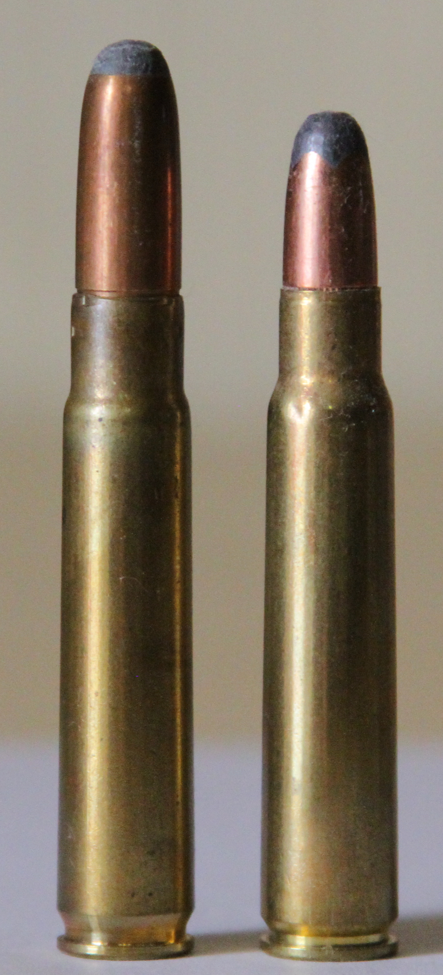 9x57mm Mauser on the left and 8x57mm on the right. (Picture courtesy Wikipedia).