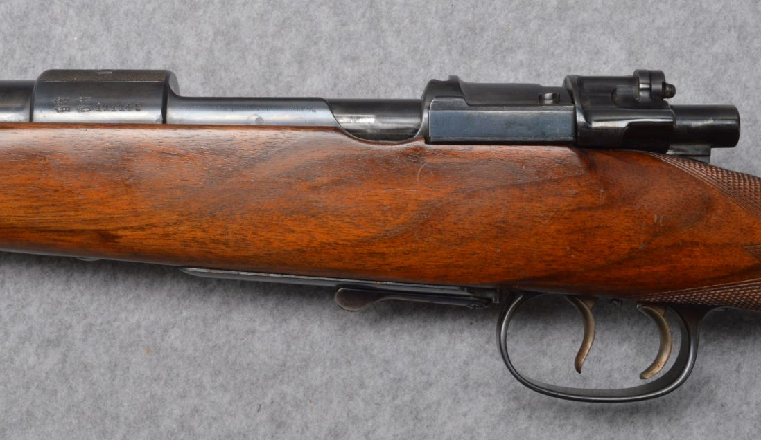 Left side view of the Mauser action showing the stripper clip thumb recess. (Picture courtesy Cabela's).