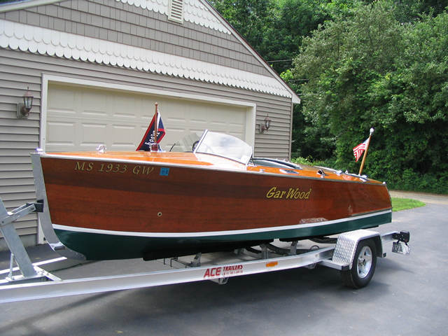 1933 18' Gar Wood split cockpit runabout powered by a rebuilt Chrysler Ace. 3M5200 bottom,correct 6 volt rewire, fuel tank relined and restored gauges. Aluminum Ace trailer and 2 mooring covers included. Restoration documentation will be on site.