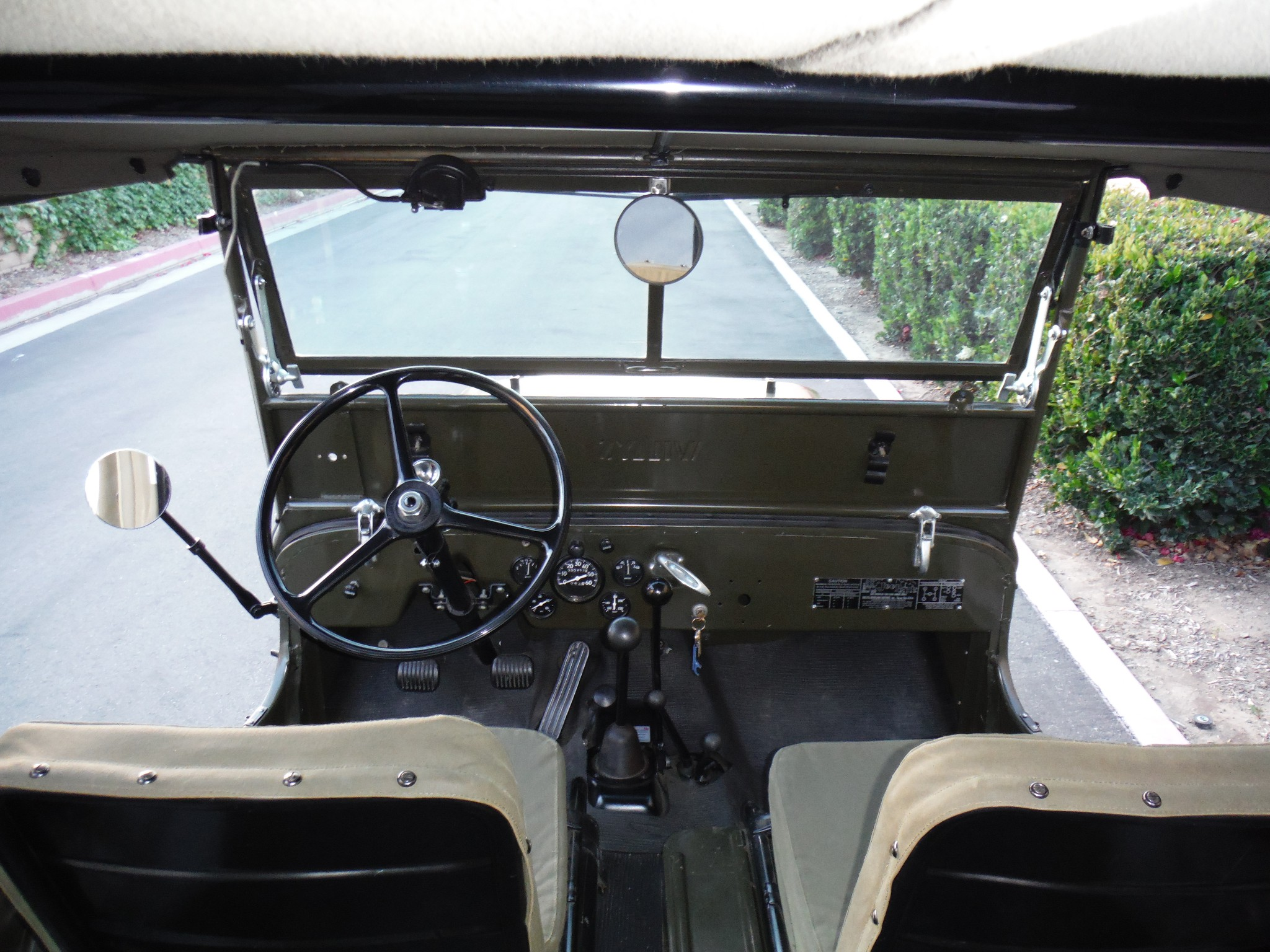 Willys Jeep Cj2a Revivaler Rear Seat The Additional Levers Include Control For Warn Overdrive