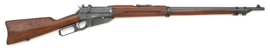 A Russian Winchester Model 1897 in 7.62×54mmR complete with stripper clip loading bridge. (Picture courtesy the Internet Movie Firearms Database imfdb.org).