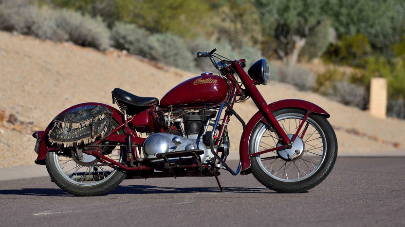 """Painted blood red this is a bike on which to """"suck the marrow out of life"""". (Picture courtesy Mecum Auctions)."""