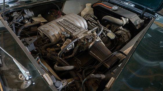 Although Carroll Shelby never dropped a V8 into an AC Greyhound that has not stopped someone else from doing it. This car has been retro-fitted with a F'ord 5.0 liter fuel injected V8.