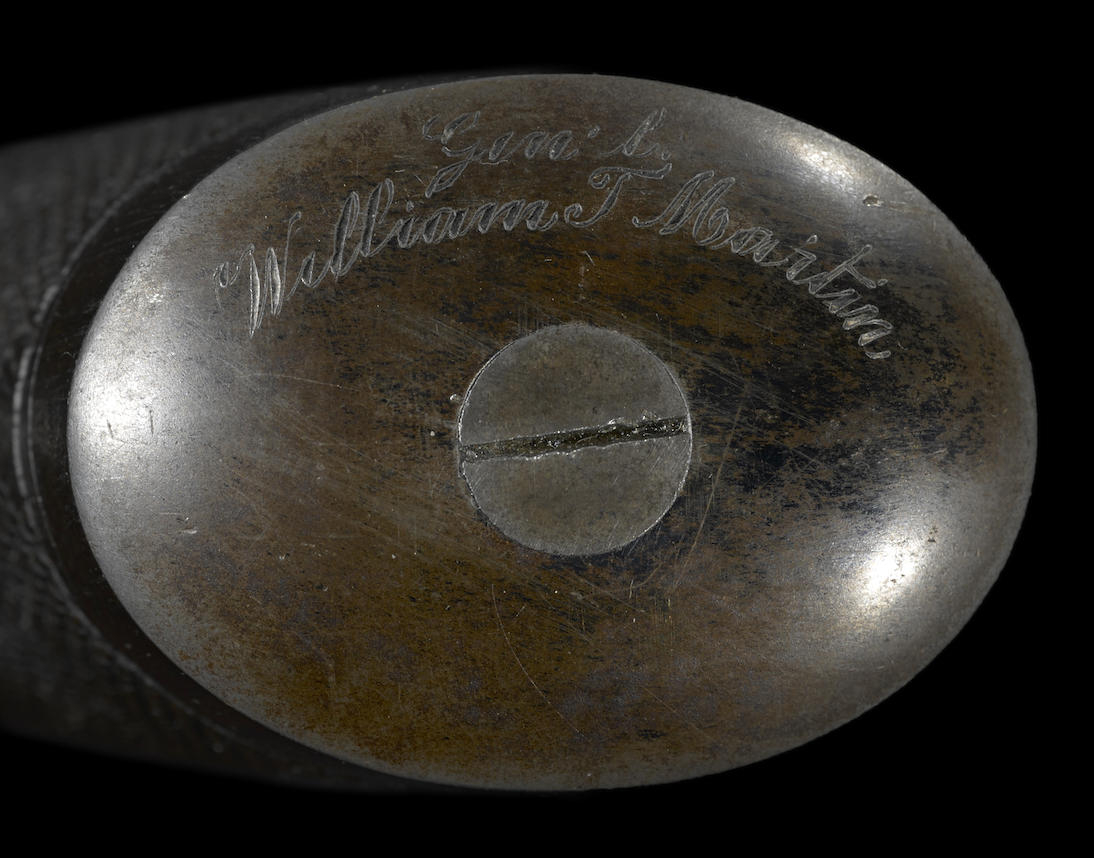 Confederate General Confederate General Willliam Thompson Martin's inscription on the pistol grip cap of the Beaumont Adams revolver. (Picture courtesy Bonhams).