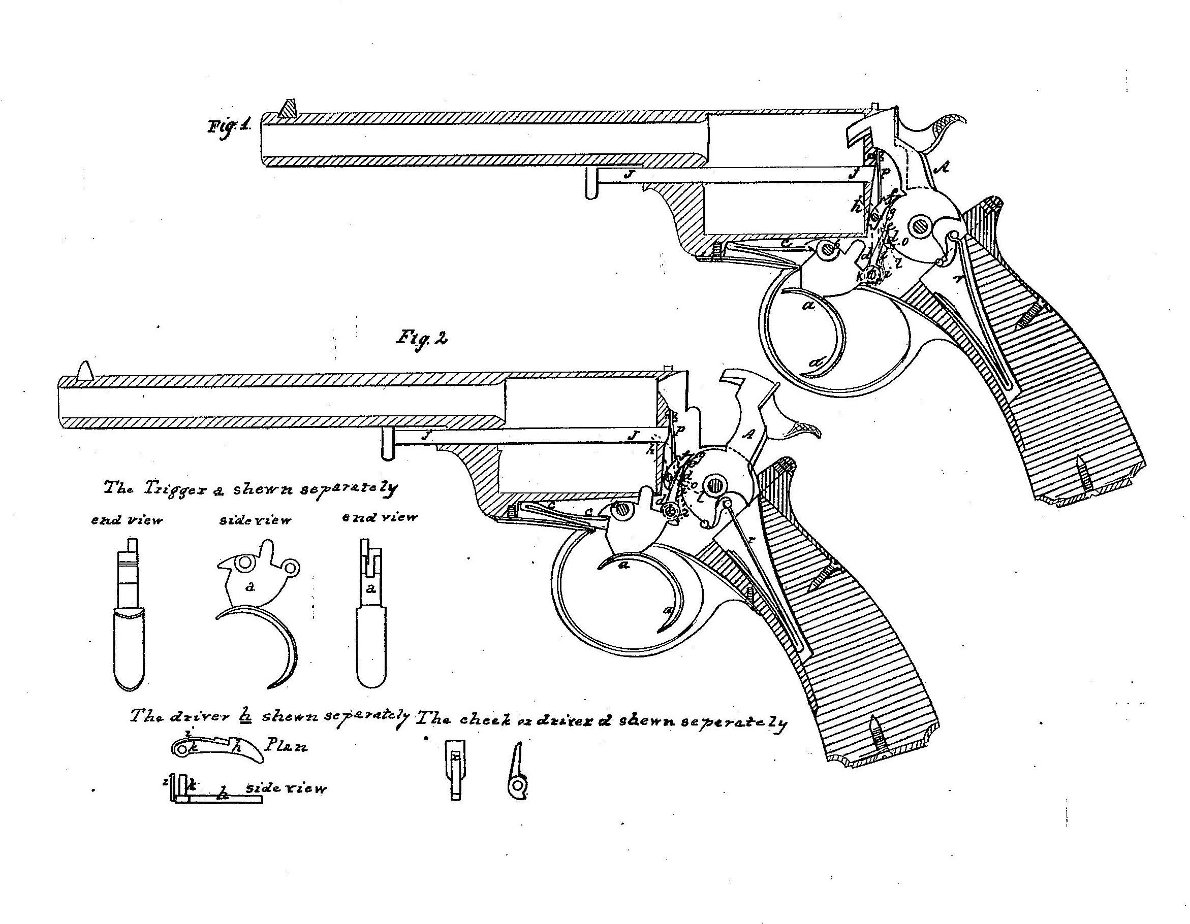 Patent drawings of the Beaumont double action mechanism for revolvers. (Picture courtesy Wikipedia).