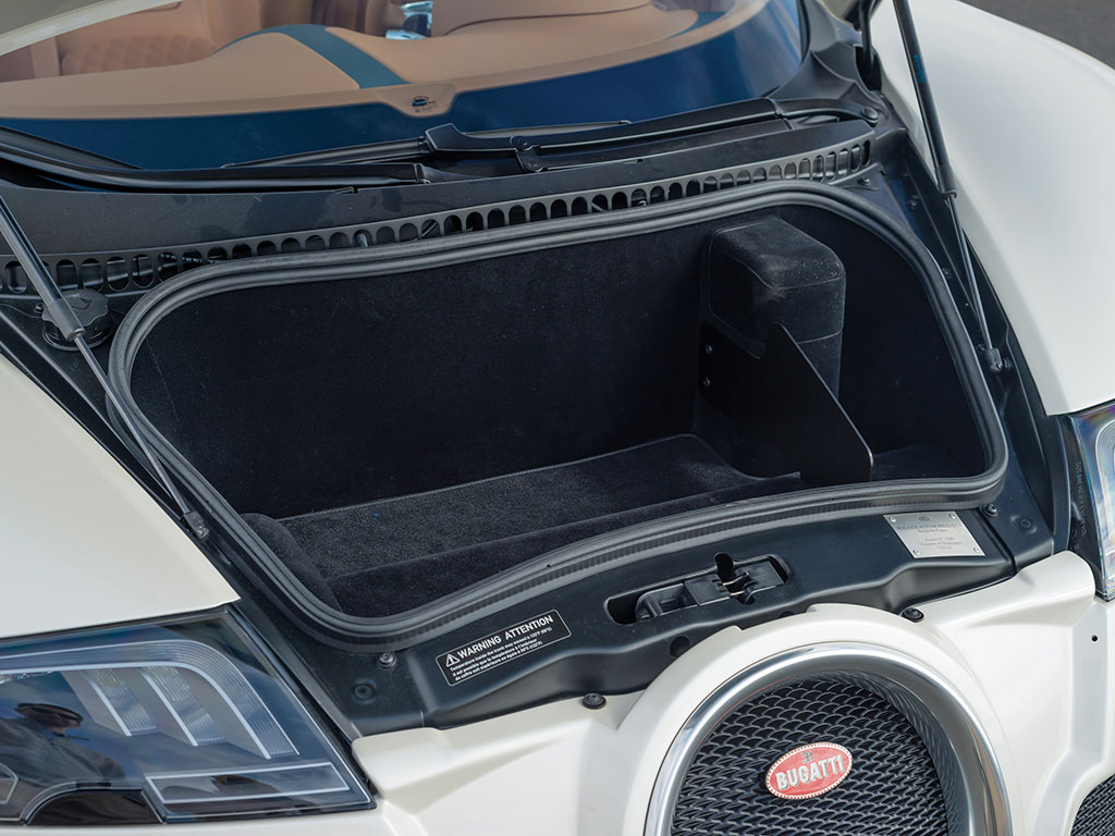 "Luggage space in the Veyron is somewhat limited so this is perhaps not the best choice as a ""shopping car"", unless one plans to arrange for home delivery of one's shopping. (Picture courtesy RM Sotheby's)."
