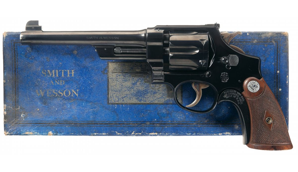 "Pre-war Smith & Wesson Outdoorsman with 6½"" barrel chambered for the 38/44. (Picture courtesy icollector.com)."