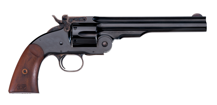 The Smith & Wesson No. 3 model of 1875 incorporated Major Schofield's modifications, most notably the barrel latch that allowed the revolver to be opened by the thumb.