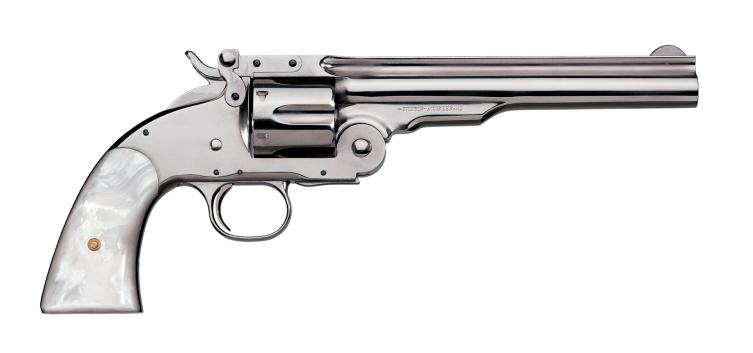 Uberti Smith & Wesson No. 3 replica in NIckel Steel finish.