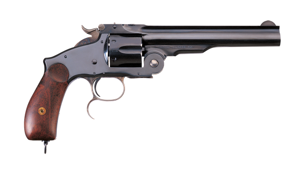 Uberti's replica of the Russian model has the original No. 3 top break latch and the trigger guard spur characteristic of the Russian contract revolvers.