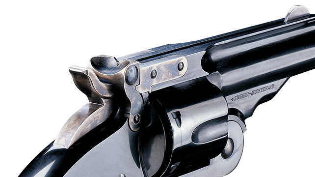 Major Schofield's most important modification to the Smith & Wesson No. 3 was the frame mounted, spring loaded stirrup type latch. To operate the hammer is moved to quarter cock and then the latch is pulled back with the thumb.