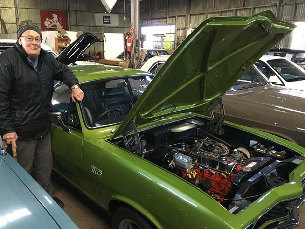 Charlie McCarron with a classic Holden Torana of the seventies. (Picture courtesy news.com.au).