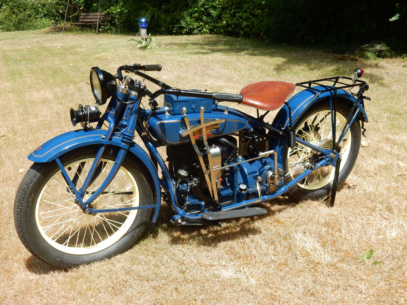 Left side view of the 1926 Henderson showing the gear change levers. (Picture courtesy eBay).